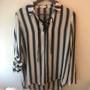 Sophie Rue Black and White Striped Blouse